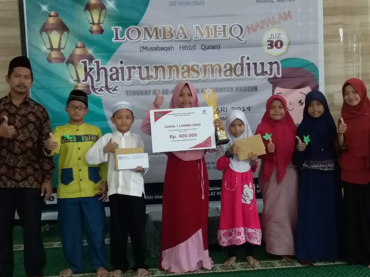 MIN 2 Kota Madiun Sabet Juara I Musabaqah Hifdzil Qur'an (MHQ) Tingkat Karesidenan Madiun