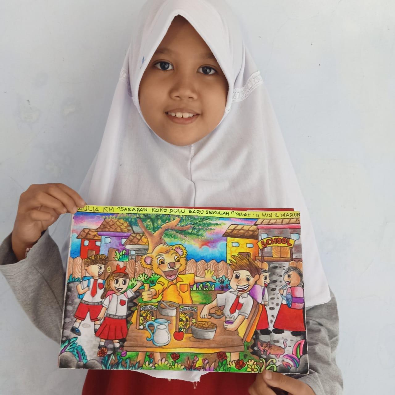 Aulia, Putri MIN 2 Kota Madiun kembali Berprestasi dalam Lomba Menggambar