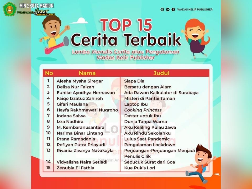 Hayfa, Siswi MIN 2 Kota Madiun Raih TOP 15 Cerita Terbaik dalam Lomba Menulis Cerita Tingkat Nasional