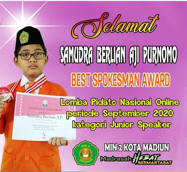Peroleh Best Spokesman Award, Samudra kembali Harumkan MIN 2 Kota Madiun