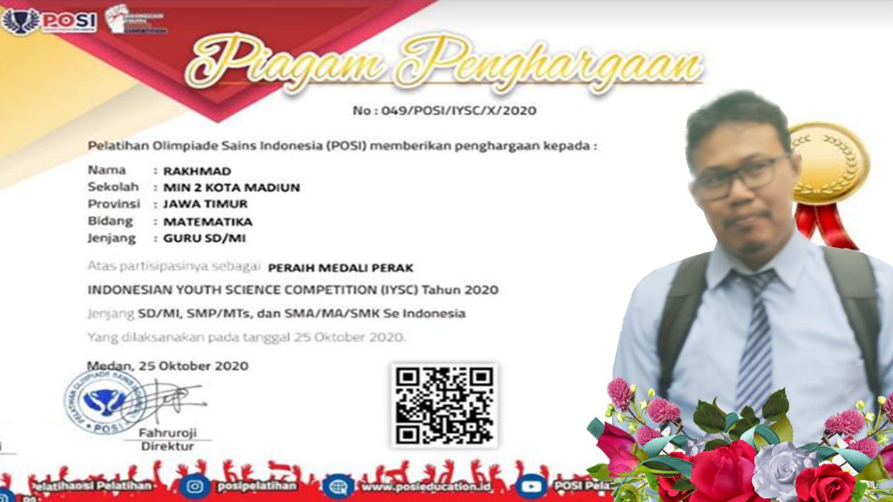 Rakhmad, Guru MIN 2 Kota Madiun Ukir Prestasi di Ajang IYSC 2020 Tingkat Nasional