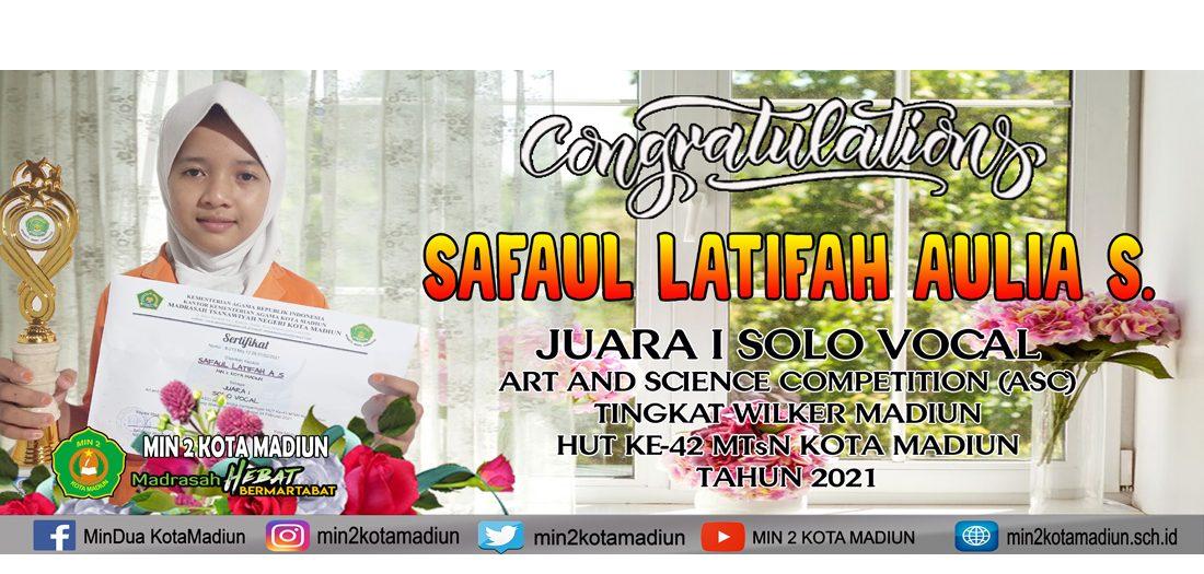 Syafaul, Juara 1 Lomba Solo Vocal HUT MTsN Kota Madiun Tahun 2021