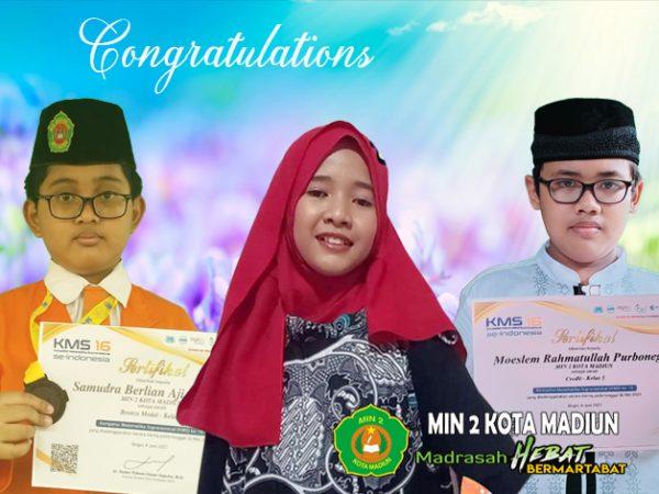 Tiga Siswa MIN 2 Kota Madiun Sukses Raih Prestasi Tingkat Nasional